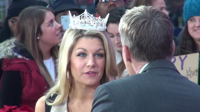 vídeos y material grabado en eventos de stock de miss america, mallory hagan being interviewed by sam champion on the set of good morning america in new york, ny, on 1/14/13. - concurso television