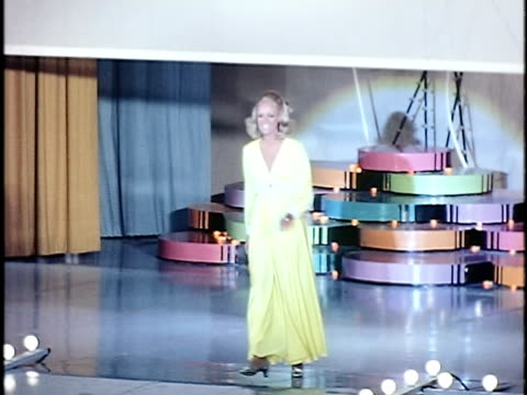 Miss California 1969 Susan Anton performing on stage at 1970 Miss California competition San Francisco California USA