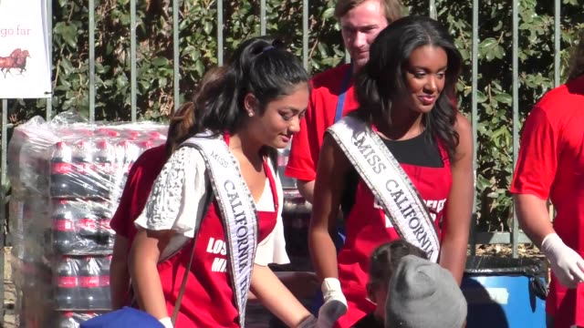 miss california india williams at the los angeles mission thanksgiving meal for the homeless in los angele at celebrity sightings in los angeles on... - ミスコン受賞者点の映像素材/bロール