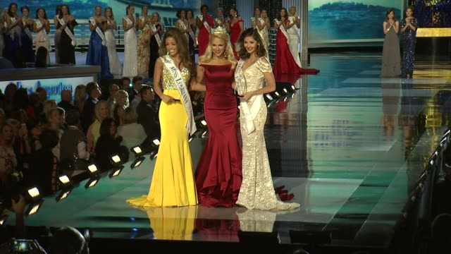 miss louisiana laryssa bonacquisti miss america 2017 savvy shields and miss florida sara zeng at 2018 miss america preliminary competition footage on... - beauty contest stock videos & royalty-free footage