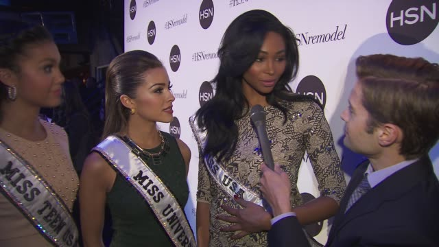 vídeos de stock, filmes e b-roll de interview miss teen usa logan west miss universe olivia culpo and miss usa nana meriwether talk about what they check out hsn for at hsn celebrates... - 2013