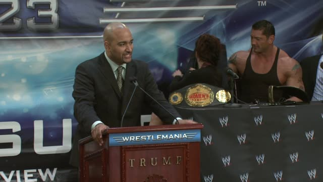 Miss USA Rachel Smith at the Donald Trump and World Wrestling Entertainment News Conference for WrestleMania 23 at Trump Towers in New York New York...