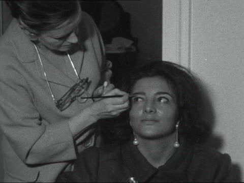 miss world beauty contest; ** digitised version of 5.55pm section of fs071163009 ** england: london: int girls having their hair done in beauty... - living room stock videos & royalty-free footage