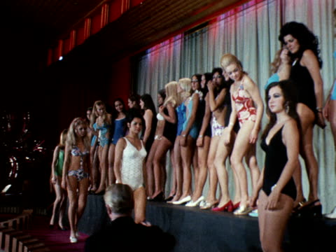 miss world contestants line up for a photocall at the empire ballroom leicester square november 1970 - miss world pageant stock videos & royalty-free footage