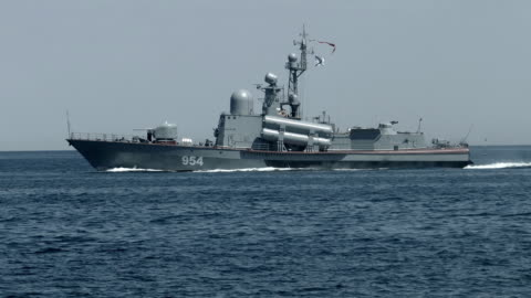 missile boat in the sea - warship stock videos & royalty-free footage