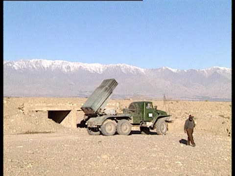missile fired from rocket launcher on back of truck - rocket launcher stock videos & royalty-free footage
