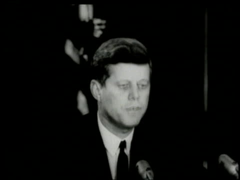 missile ready to fire / jfk speaking into microphone - cuban missile crisis stock videos & royalty-free footage