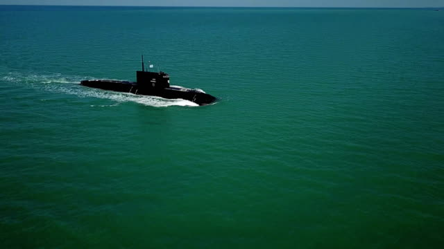missile submarine at sea - aerial view - submarine stock videos & royalty-free footage
