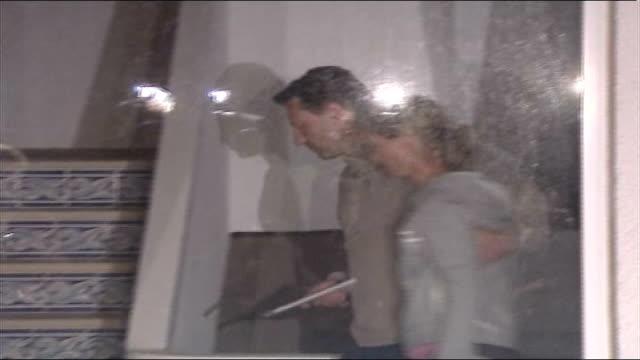 further developments; night gerry and kate mccann seen walking up hotel stairway after making press statement - fall madeleine mccann stock-videos und b-roll-filmmaterial
