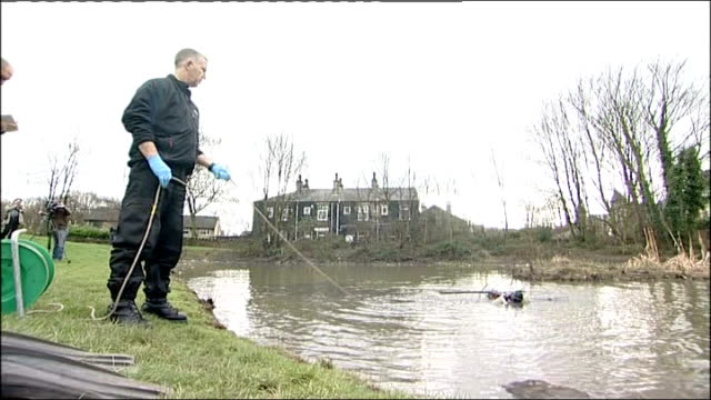 search continues Police scuba divers searching pond near to Shannon Matthews home Chief Superintendent Barry South interview SOT Police officers...