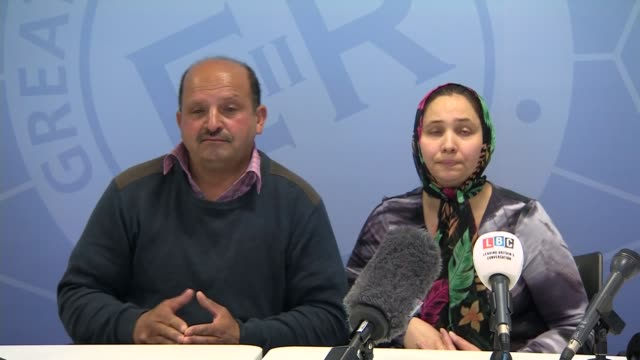 parents appeal for her return england greater manchester int gheorghe lupu press confernece his wife lina lupu alongside sot this man charmed her he... - 提訴点の映像素材/bロール