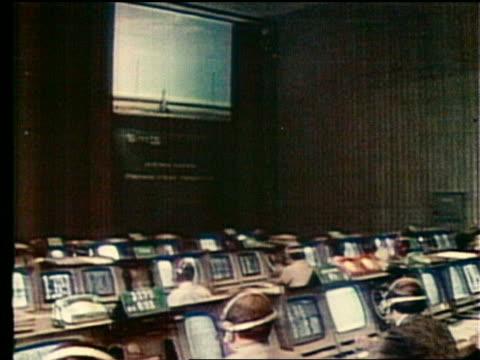 mission control room with control panels and screen on wall - 1975年点の映像素材/bロール