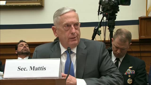 mississippi congressman trent kelly asks defense secretary jim mattis at a house armed services committee hearing about what conditions would be... - isil konflikt stock-videos und b-roll-filmmaterial