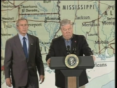 mississippi governor haley barbour thanks us president george w. bush for helping to provide federal aid to mississippi. - united states and (politics or government) stock videos & royalty-free footage
