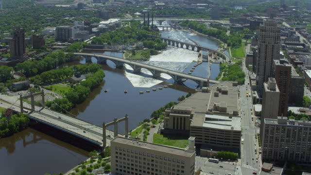 mississippi river in downtown minneapolis - minnesota stock videos & royalty-free footage
