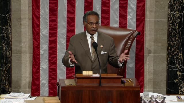 Missouri Congressman Emanuel Cleaver calls the House to order after an hour long pause to review floor remarks of Speaker Nancy Pelosi in debate on a...