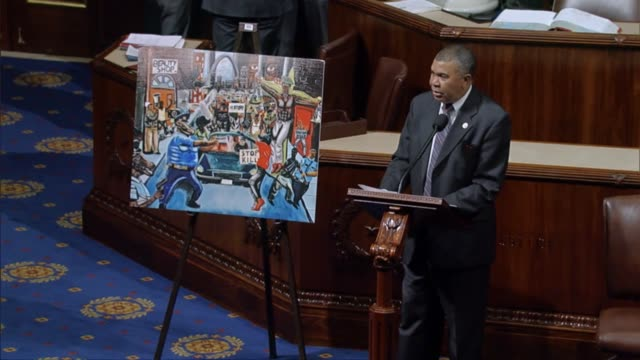 vídeos de stock, filmes e b-roll de missouri congressman william lacy clay takes the floor of the house of representatives to defend a painting submitted by a teenage constituent and... - lawsuit