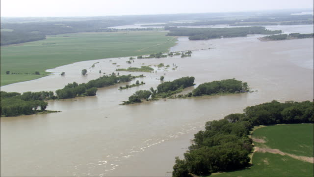 missouri in flood  - aerial view - nebraska, knox county, united states - nebraska stock videos & royalty-free footage