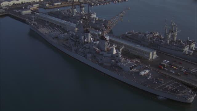 AERIAL, USS Missouri moored in Pearl Harbor, Hawaii, USA