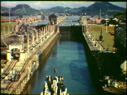 missouri naval warship passing through miraflores lock in panama canal panama - panama canal stock videos & royalty-free footage