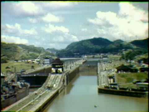 missouri naval warship passing through panama canal panama - uss missouri stock videos and b-roll footage