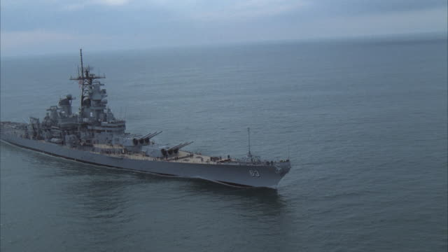 AERIAL, ZI USS Missouri on sea