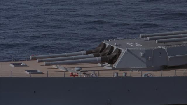 low aerial, cu, circling, uss missouri on sea - uss missouri stock videos and b-roll footage