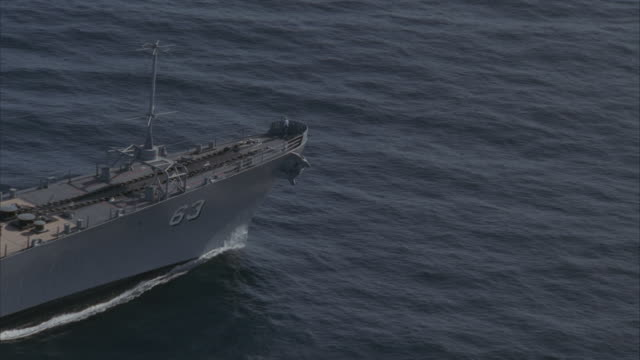 LOW AERIAL, USS Missouri on sea