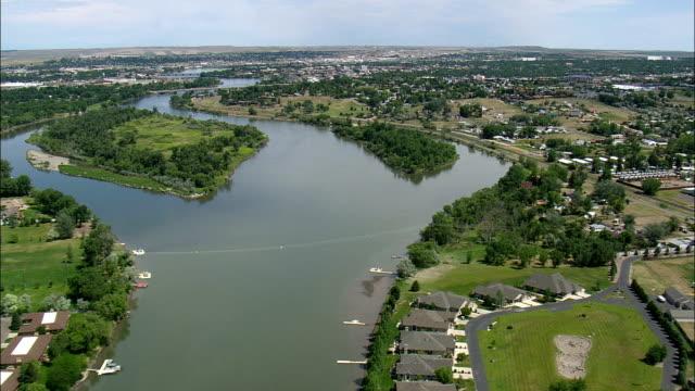 Rio Missouri através de Great Falls-Vista aérea-Montana, cascata município, Estados Unidos