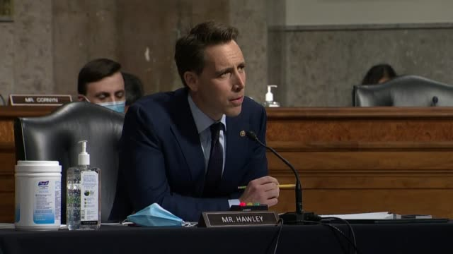 missouri senator josh hawley continues an exchange with former deputy attorney general sally yates at a senate judiciary committee hearing in review... - an answer film title stock videos & royalty-free footage