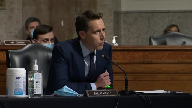missouri senator josh hawley seeks to clarify at a senate judiciary committee hearing with former deputy attorney general sally yates in review of... - attorney general stock videos & royalty-free footage