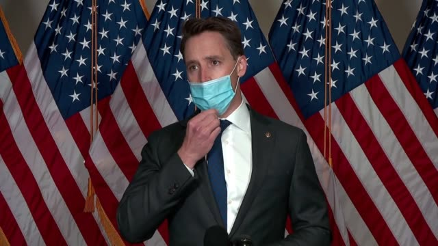 missouri senator josh hawley tells reporters in a hallway press appearance that is chairman of the senate judiciary subcommittee on crime and... - control stock videos & royalty-free footage