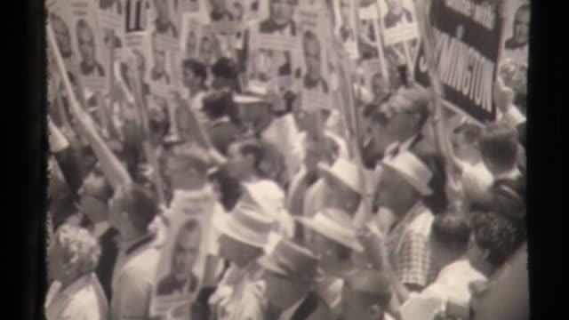 vidéos et rushes de missouri senator william stuart symington jr arrives at lax for 1960 democratic national convention he was running for president - film documentaire image animée
