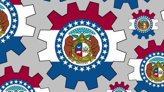 vídeos de stock e filmes b-roll de missouri us state flag gears spinning background zooming out - missouri