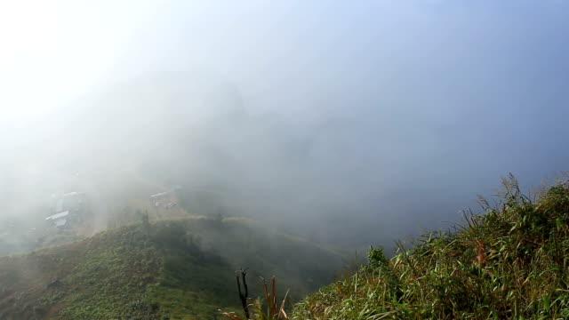 mist above mountain time-lapse