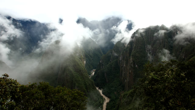 Mist and mountains seen from Machu Picchu