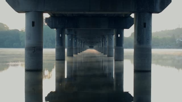 mist at the sunrise under the bridge - distant stock videos & royalty-free footage