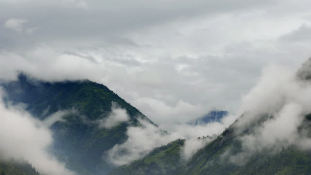 Mist billows in lush valley, Yunnan, China