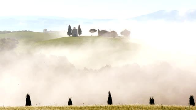 Mist Cappella di Vitaleta chapel nr San Quirco d Orcia Tuscany Italy