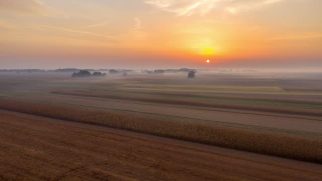 h/l mist covering fields in the pannonian plain - prekmurje stock videos & royalty-free footage