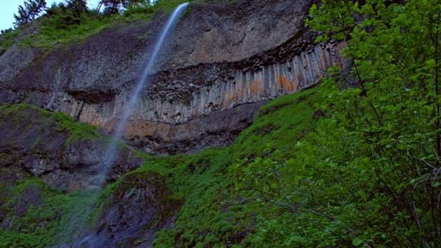 mist falls waterfall in the columbia river gorge tall thin visible from multnomah falls - multnomah falls stock videos & royalty-free footage
