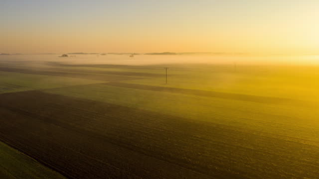 H/L Mist floating over fields in The Pannonian Plain
