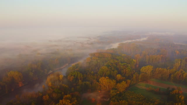 aerial mist floating over the river - prekmurje stock videos & royalty-free footage