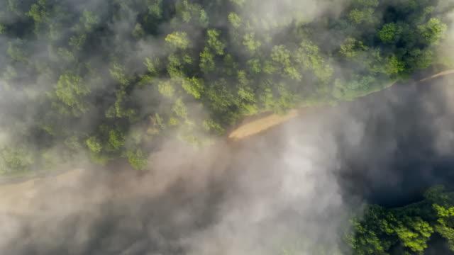 vídeos y material grabado en eventos de stock de niebla h/l flotando sobre el río - multicóptero