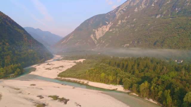 h/l mist floating over the soca river - mountain range stock videos & royalty-free footage