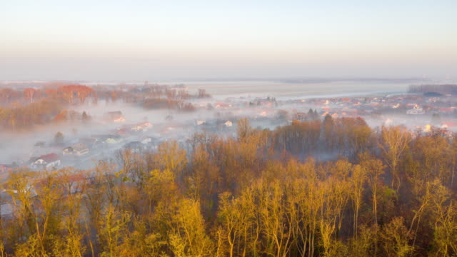 h/l mist floating over the village in the pannonian plain - prekmurje stock videos & royalty-free footage