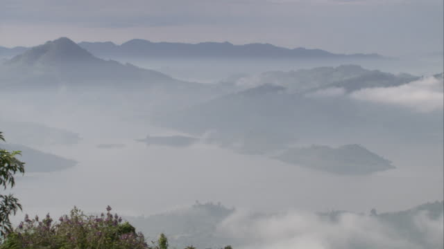 Mist lies low in valleys. Available in HD.