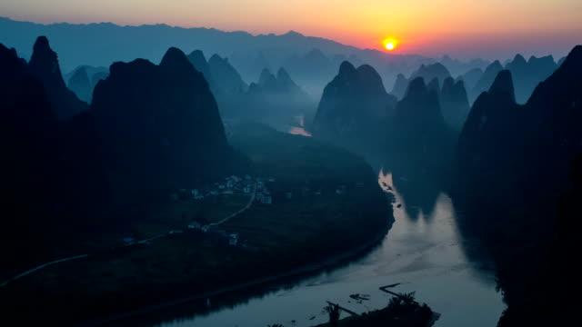 mist lijiang - li river stock videos & royalty-free footage
