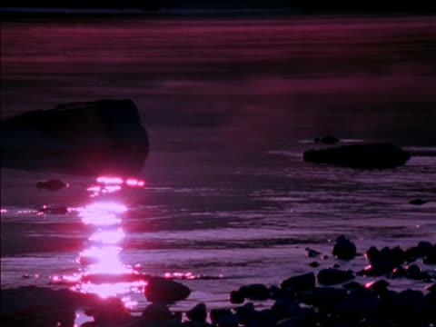vídeos de stock e filmes b-roll de mist moving over river with rocks in it / new zealand - 1997
