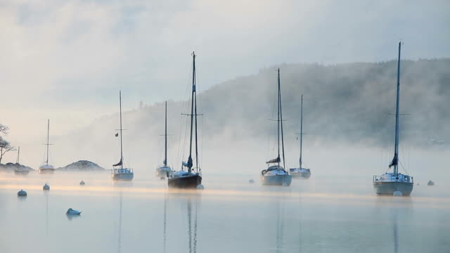 mist over a lake - water form stock videos and b-roll footage